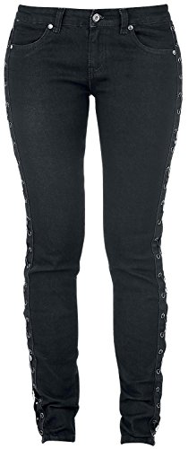 Rock Rebel by EMP Laced Megan (Skinny Fit) Jeans donna nero W28L32