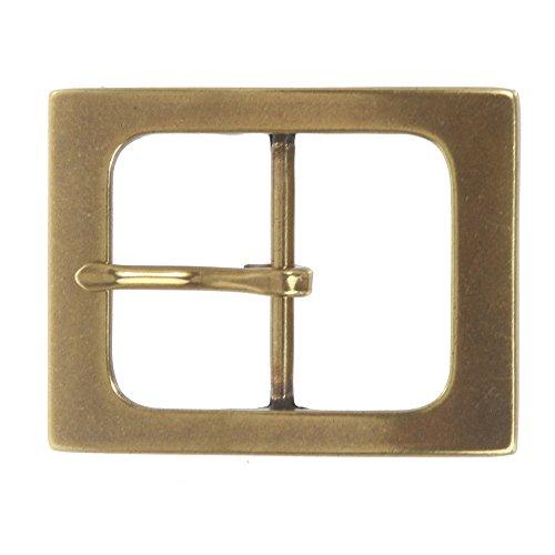 "1 1/2"" (38 mm) Nickel Free Single Prong Rectangular Belt Buckle Color: Brass"