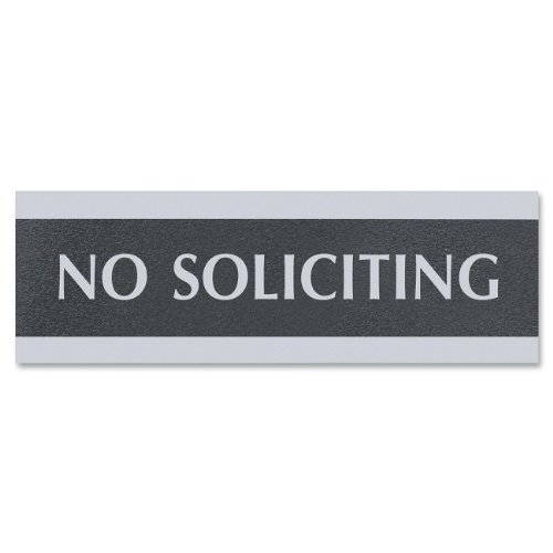"""U. S. Stamp & Sign Century Series """"No Soliciting"""" Sign, 3X9, Black/Silver (4758)"""