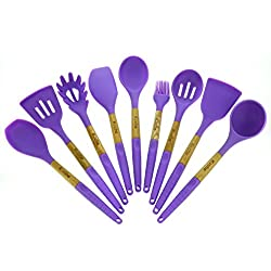 Cooking Utensils - Kitchen Utensil Set Of 9 Pieces Made Of Silicone & Beech Wood - Kitchen Cooking Tool Set, In Purple & Light Green -High Heat Resistant By Kuche (Purple)