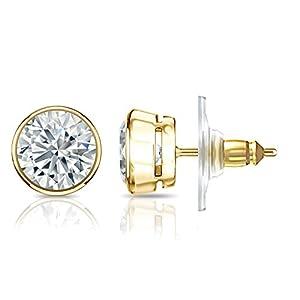 IGI Certified 14k Yellow Gold Bezel-set Round Diamond Stud Earrings (1 3/4 ct, J-K, I1-I2)