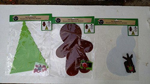 Felt Ornament Kit (Assorted, Styles & Quantities Vary) Christmas Tree, Gingerbread Man and/or Snowman
