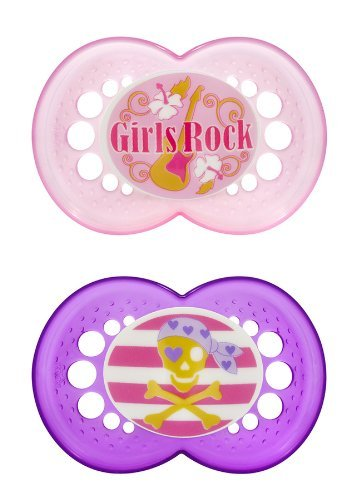 MAM 2 Pack Rock N' Roll Silicone Pacifier, 6 Months, Pink