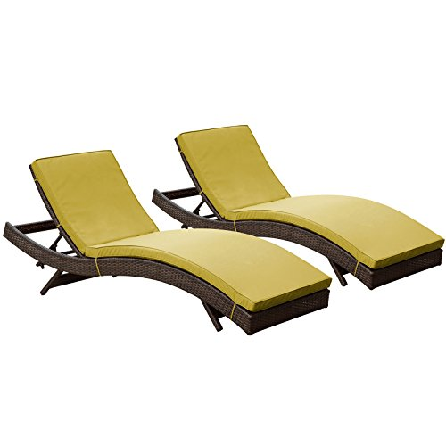 LexMod Peer Outdoor Wicker Chaise Lounge Chair with Brown Rattan and Peridot Cushions, Set of 2 photo