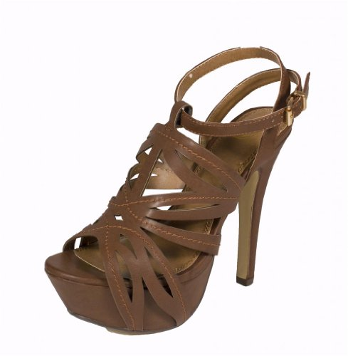 Delicious Women'S Rustic Peep Toe Cut Out Ankle Strap Platform High Heel Sandal, Tan Leatherette, 7 M Us front-413251