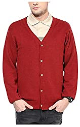 UV&W Men's Cotton Sweater (FWFK1111_S_Red, Red Small)