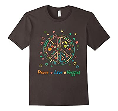 """Peace Love Veggies"" Retro Vegetable Lover's T-shirt Vegan T-Shirt"