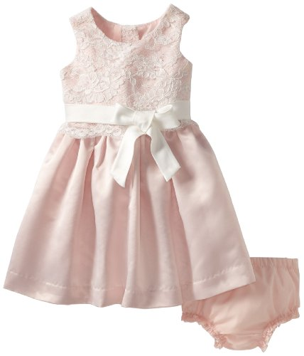 For Sale Us Angels Baby-Girls Infant Lace And Satin Dress, Ivory/Blush Pink, 12 Months