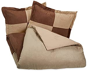 AmazonBasics Two-Tone Microsuede Comforter Set - Full/Queen, Chocolate