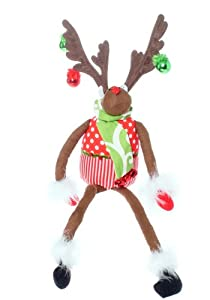 "20"" Christmas Brites Posable Jingle Bell Reindeer Decoration"