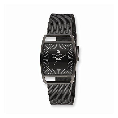 Perfect Jewelry Gift Charles Hubert Black Ip-Plated Stnlss Stl Milanese Band Watch