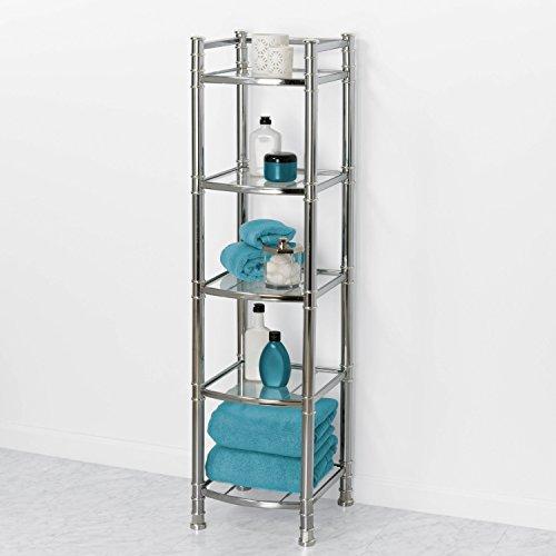 Zenna Home 9058ss 5 Tier Bathroom Shelf Linen Tower Chrome Glass Furniture Shelving Accessories