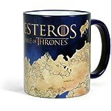 Game of Thrones Westeros Tasse Landkarten Motiv zur TV-Serie farbiger Rand Henkel Keramik