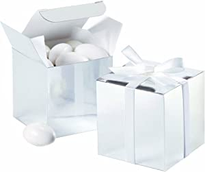Wilton Silver Square Favor Box - 100 Count - Wedding Planning