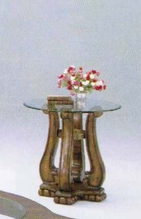 Cheap End Table with Nail Head Brown Oak Finish (VF_AM7616)