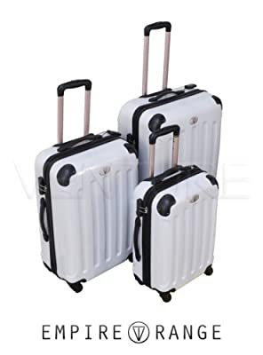 "Set of 3 Venture White Hard Plastic 4WD Suitcases 20"" - 24"" - 28"""