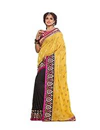 IndiWeaves Women Crepe Jacquard +Georgette Viscose Butti Embroidered Black+Yellow Saree.