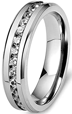 FIBO STEEL 6mm Mens Womens Titanium Ring Engagement Wedding Band Cubic Zirconia Inlaid,Size 6-13