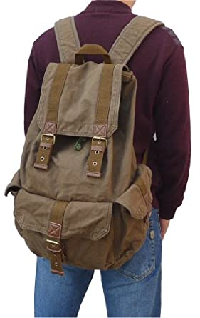 Otium 21101AMG Large Canvas Backpack ,Large Size , Army Green