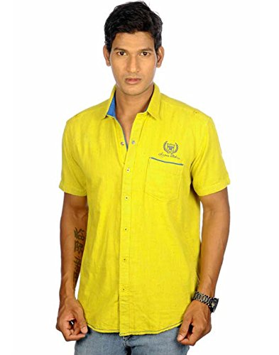 Campus Twills Premium Men's Cotton Solid Shirt Yellow (Multicolor)