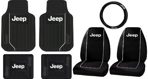 New 6pcs JEEP Elite Style Logo Car Truck Front Seat Covers /& Floor Mats Set