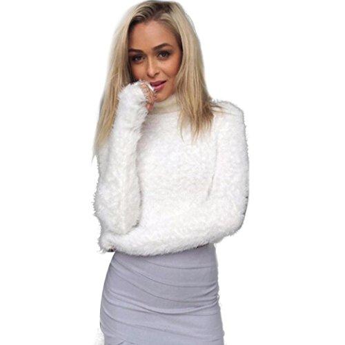 """Reasoncool Camicia a maniche lunghe donna collo alto ombelicale Bottomed peluche camicetta superiore (One Size :Busto:30,7-39,4 """", Bianco)"""