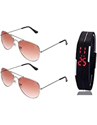 SILVER ORANGE AVIATOR SUNGLASSES AND AVIATOR SILVER ORANGE SUNGLASSES WITH TPU BAND RED LED DIGITAL BLACK DIAL...