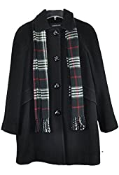 London Fog Women's wool Blended Single Breasted Coat with Scarf Charcoal XL