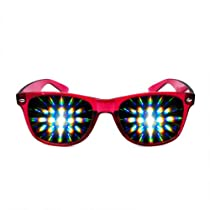 Transparent Clear Diffraction Glasses (Red)