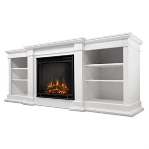 Real Flame G1200E-W Fresno Entertainment Unit with Electric Fireplace, Large, White (Real Flame Fireplace compare prices)