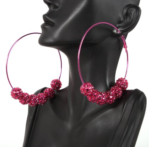 Basketball Wives Fuchsia 3 Inch Hoop Earrings with Six 12mm Matching Shamballah Balls Paparazzi Mob Wives