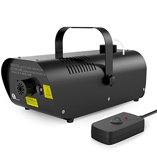 1byone 1500W Fog Machine with Wired Remote Control Fogger, 2000ml Tank Capacity and Alarm Function
