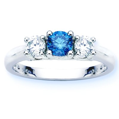 14K White Gold Round 3 Stone Blue Diamond and White Diamond Ring (1 cttw) &#8211; Size 6