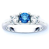 14K White Gold Round 3 Stone Blue Diamond and White Diamond Ring (1 cttw)