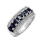 100% Genuine Nature Classic Midnight Blue Sapphire CZ Diamonds 925 Sterling Silver 18K White Gold Plating LUXURY Ring Gem Fine Jewellery