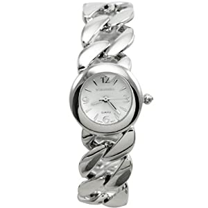 BOMBSHELL Women's BS0966S Classic Analog with Chain Link Bracelet White Dial Watch