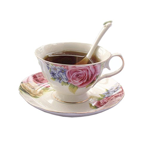 European Style Bone China,Colorful Flower Printed Ceramic Porcelain Tea Cup Set With Lid And Saucer,metal holder in the picture is not included
