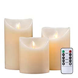 Air Zuker Flameless Candles Pillar LED Candle Battery Operated Candles Flickering Dancing LED Candle Real Wax Candle Motion Candle with Timer and 10-key Remote, Height 4\