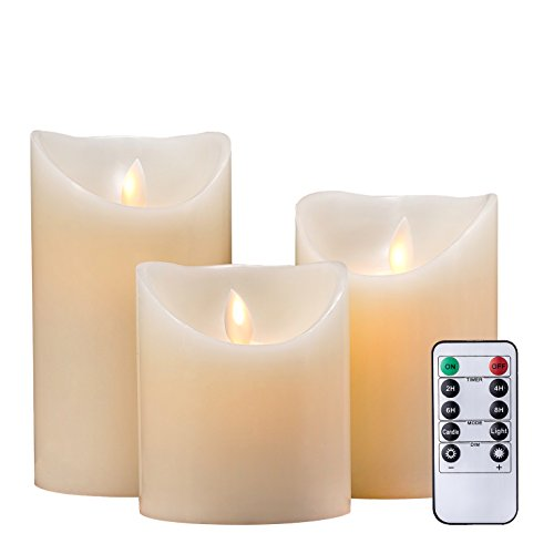 Air Zuker Flameless Candles Pillar LED Candle Battery Operated Candles Flickering Dancing LED Candle Real Wax Candle Motion Candle with Timer and 10-key Remote, Height 4