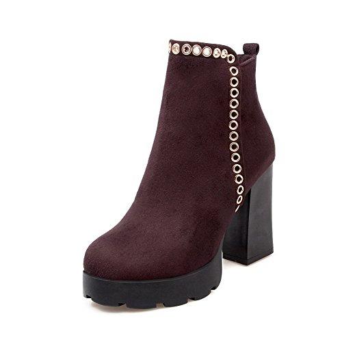 AgooLar Donna Punta Tonda Chiodato Alla Caviglia Tacco Alto Stivali con Ornamento Di Metallo, Marrone, 38