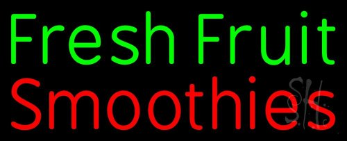 """Fresh Fruit Smoothies Neon Sign 13"""" Tall X 32"""" Wide X 3"""" Deep front-145468"""