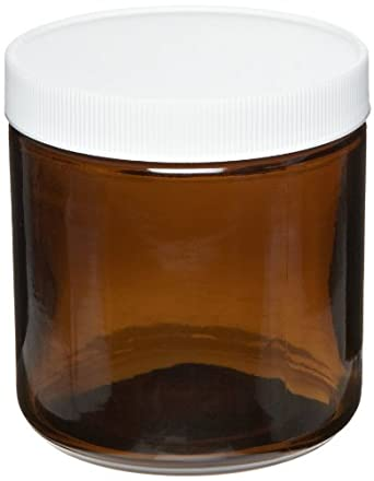 Greenwood Products Amber Glass Straight Sided Jar, with White Polypropylene PTFE Lined Cap