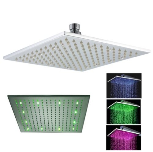 Fontana 12 Inch Square Rainfall Led Shower Head (Special Lights), Stainless Steel With Chrome Finish ((Without Shower Arm)