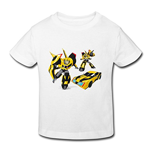 Toddler's Transformers Robots In Disguise Style T-Shirt White US Size 4 Toddler,100% Cotton
