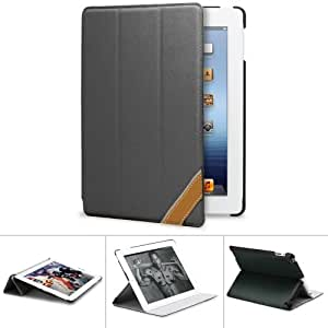 GreatShield Leather Protector Case Cover w/Stand for Apple iPad 4th Gen - Black