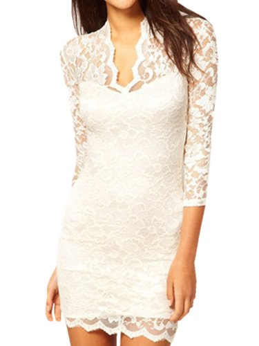 Women V Neck 3/4 Sleeve Lace Crochet Sexy Tunic Dress