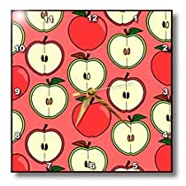 Janna Salak Designs Food and Drink - For the Kitchen - Half Apple Print Red - Wall Clocks