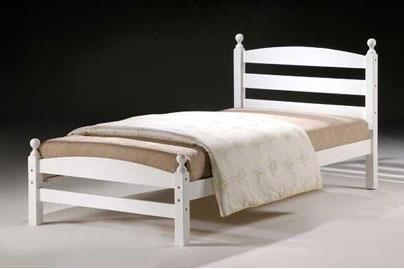 Moderna Hardwood Single 3'0 Ft Bedstead in White Colour (Frame Only)