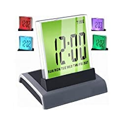Fuloon 7 LED Digital Desk Alarm Clock + Thermometer Calendar