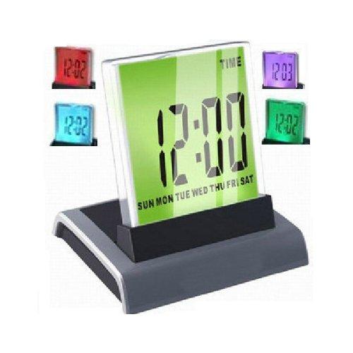 Fuloon 7 LED Digital Desk Alarm Clock + Thermometer Calendar